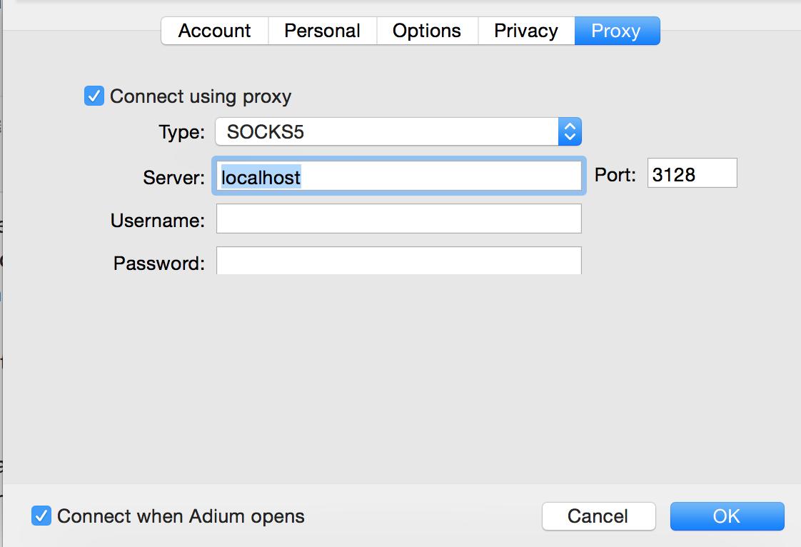 Adium proxy settings for SSH